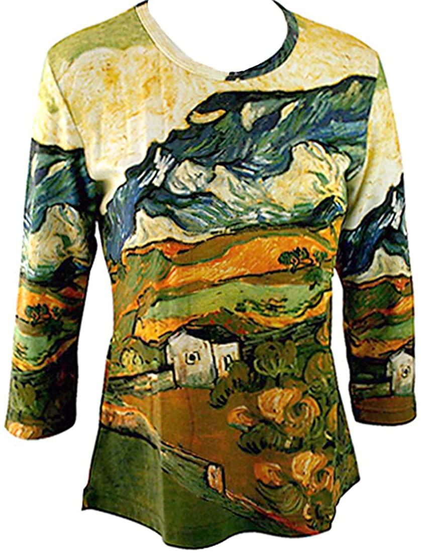 Van Gogh Les Alpilles Mountain, 3/4 Sleeve Hand Silk-Screened Art Novelty Top