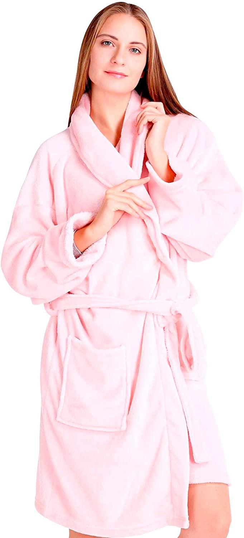 Pembrook Ladies Robe - Plush Fleece – Kimono Wrap – Spa Bathrobe Women, Girls