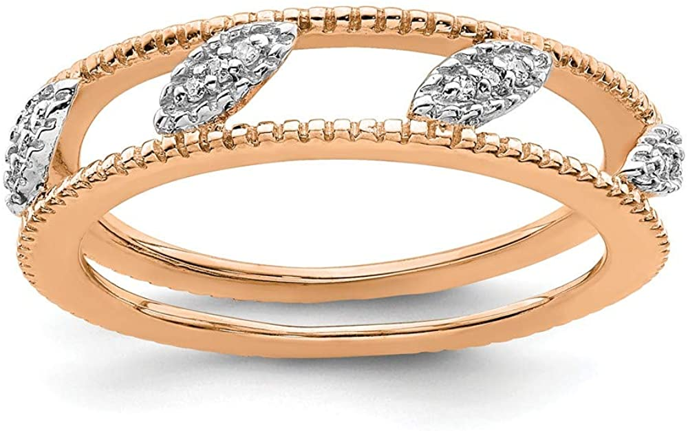 Beautiful Sterling silver 925 sterling Sterling Silver Stackable Expressions Rose Gold-plated Diamond Jacket Ring