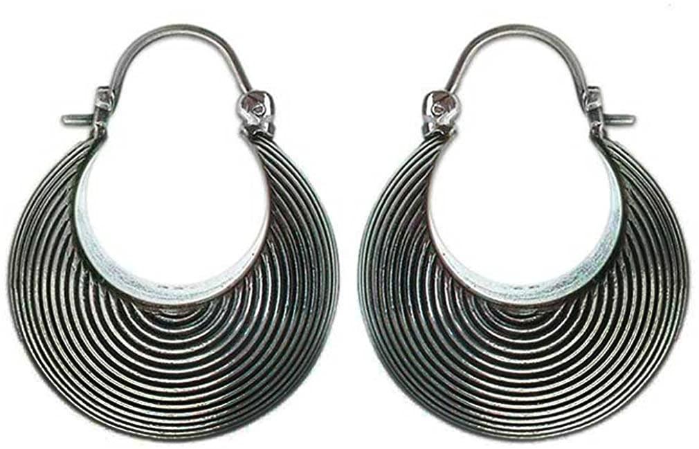 NOVICA .925 Sterling Silver Hoop Earrings, Hypnotic Moon'