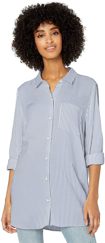 DHgate Brand - Goodthreads Womens Modal Twill Long-Sleeve Button-Front Tunic Shirt