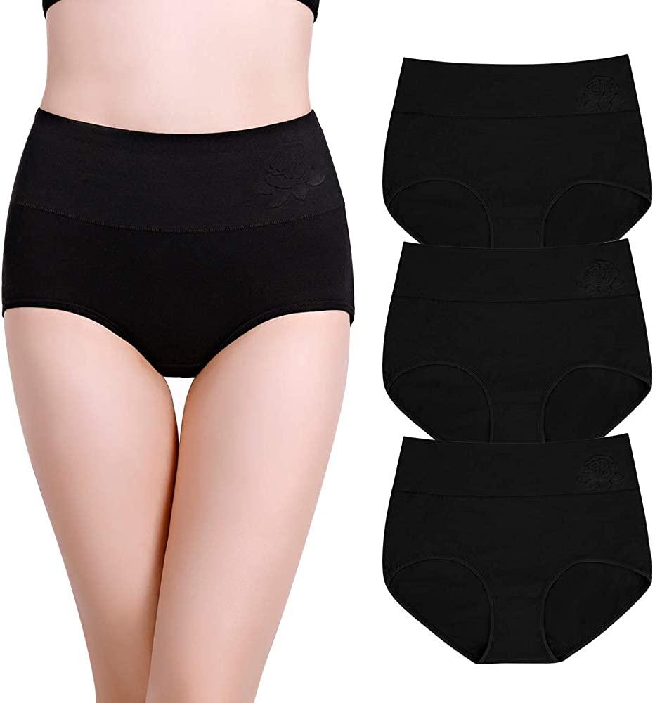 EASTBUDDY Women's Soft Cotton Briefs Underwear Breathable High Waist Full Coverage Ladies Panties 3 Pack