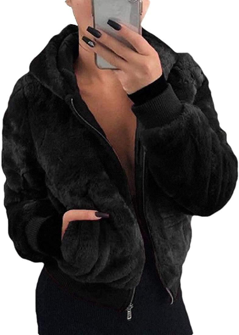 Jhsxydgy Fashion Women's Lapel Fleece Fuzzy Faux Shearling Zipper Coats Warm Oversized Outwear Jackets,Black,Large