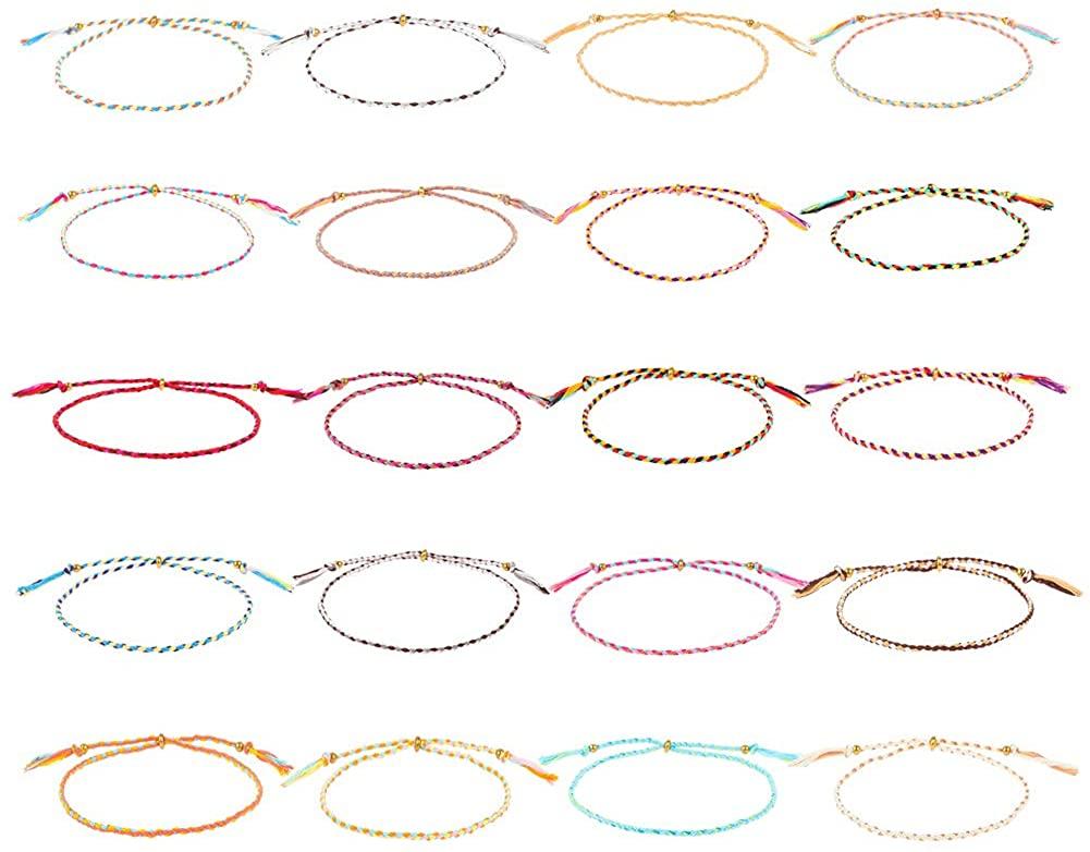 BKpearl 20 Pieces Wave Bracelet, Adjustable Braided Rope Bracelet Surfer Bracelet Thin Strings Bracelet Friendship Bracelet for Women Girl