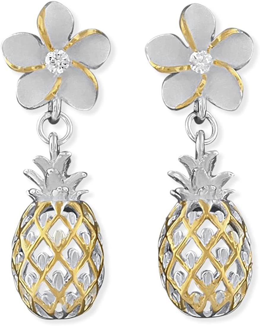 Sterling Silver Plumeria and Pineapple Dangle Earrings
