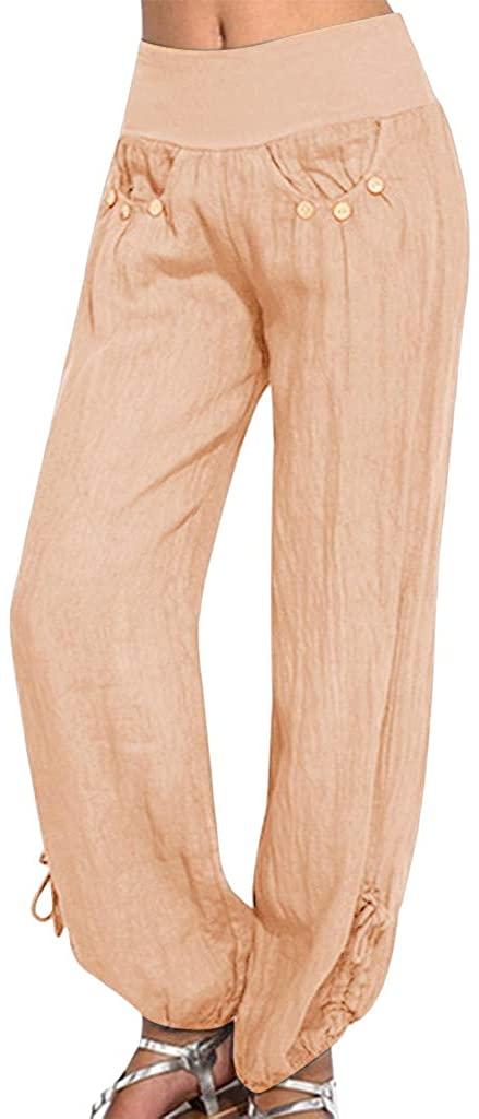 Plus Size Cotton Linen Pant for Women 2020 Summer Wide Leg Casual Loose Harem Trouser Solid Color - Limsea