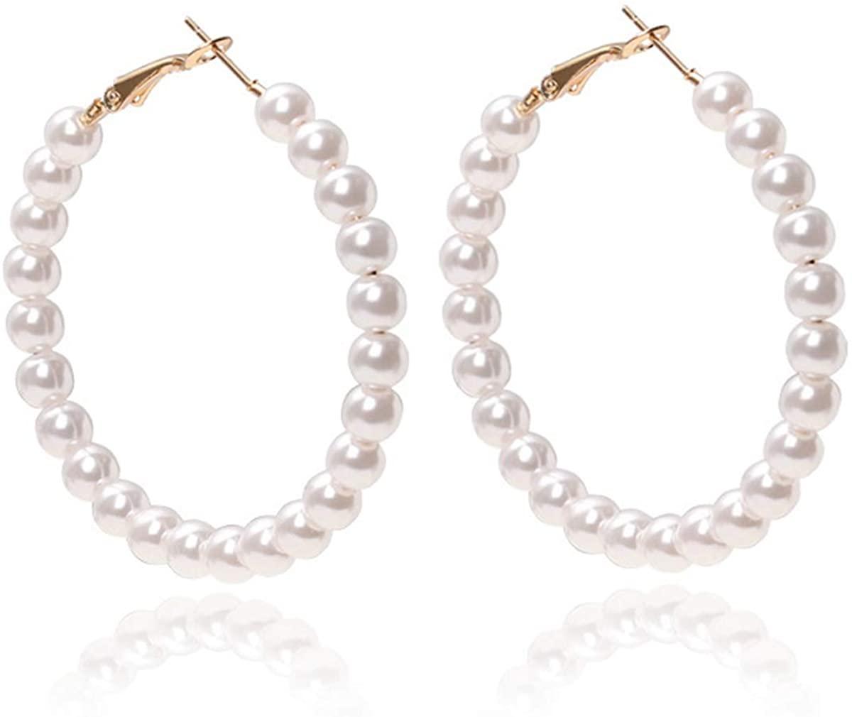 Linorui Pearl Hoop Earrings for Women Fashion Dangle Hypoallergenic Layer Earrings Drop Dangle Earrings Gifts for Women