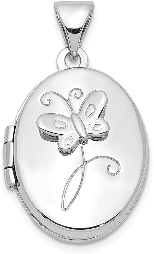 Beautiful Sterling silver 925 sterling Sterling Silver Rhodium-plated 17x14mm Butterfly Locket