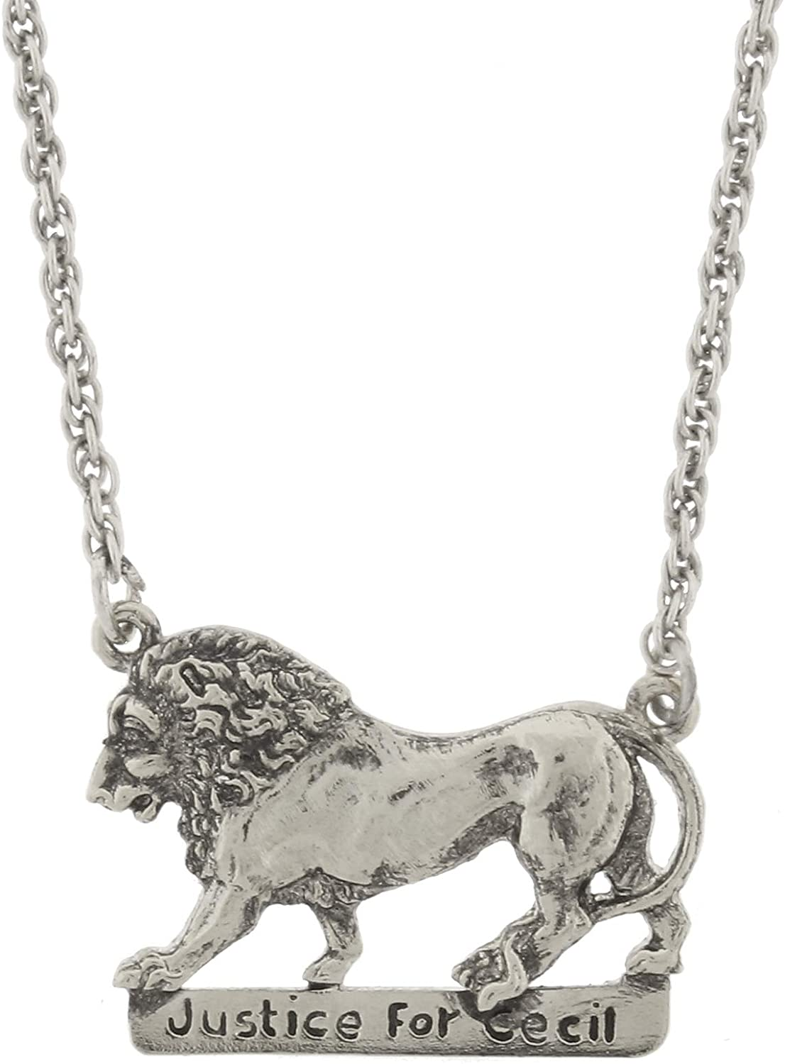 1928 Jewelry Justice for Cecil - Silver-Tone Cecil The Lion Necklace