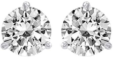 1.5 Carat Solitaire Diamond Stud Earrings 18K White Gold Round Brilliant Shape 3 Prong Push Back (I-J Color, I1 Clarity)