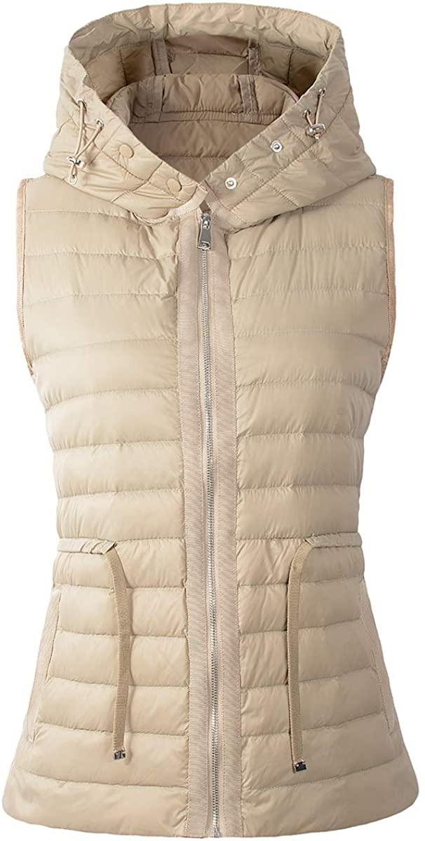 Beninos Womens Packable Ultra Lightweight Hooded Down Vest Outdoor Puffer Vest