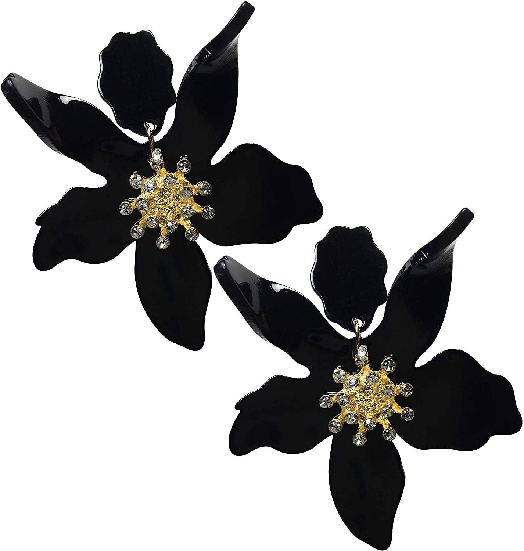 Clip-On Style Oversized Statement Flower Earrings Retro Large Hawaii Earrings Mahalo Lei Flower Earrings Clip On Earrings Acrylic Resin Dangling Drop Earrings