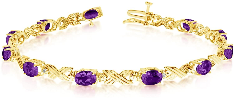 14K Yellow Gold Oval Amethyst Stones And Diamonds Tennis Bracelet, 7