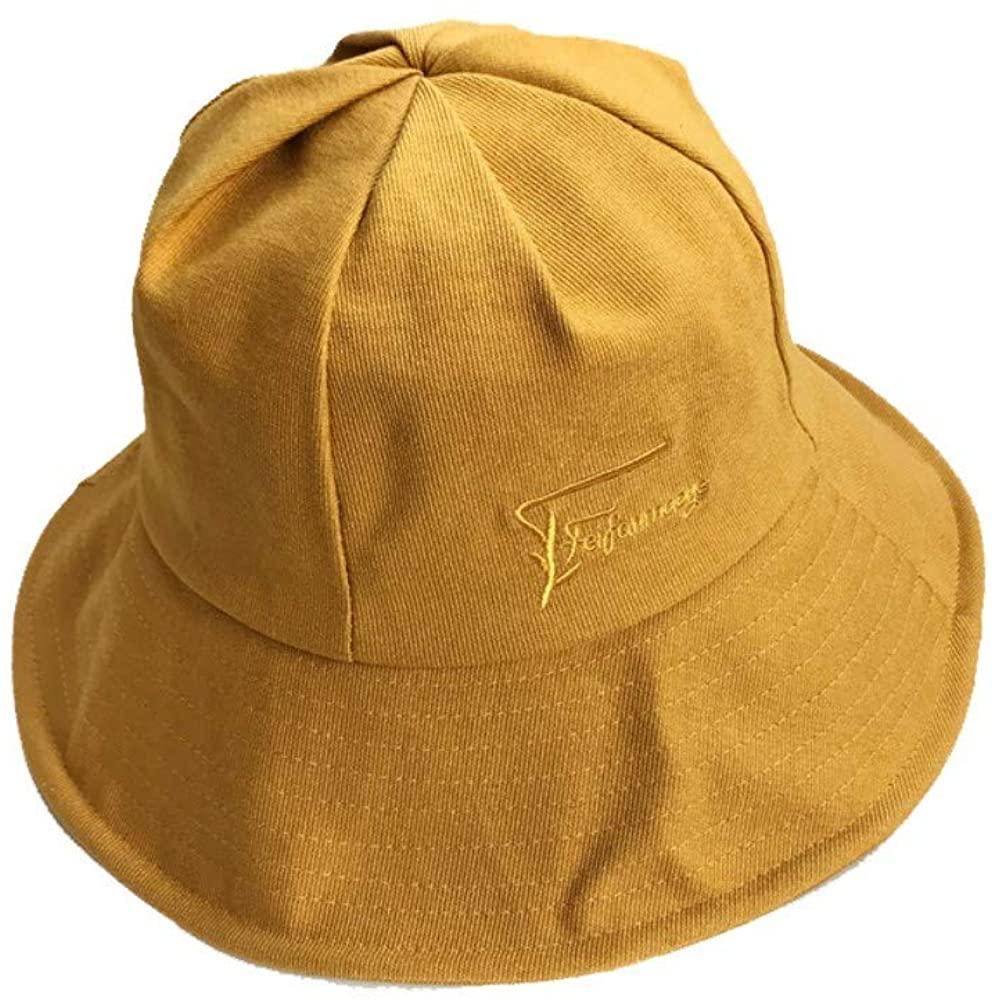 WAYATI Corduroy Letter Embroidery Women's Foldable Sun Hat Sunscreen, 56-58Cm, Black