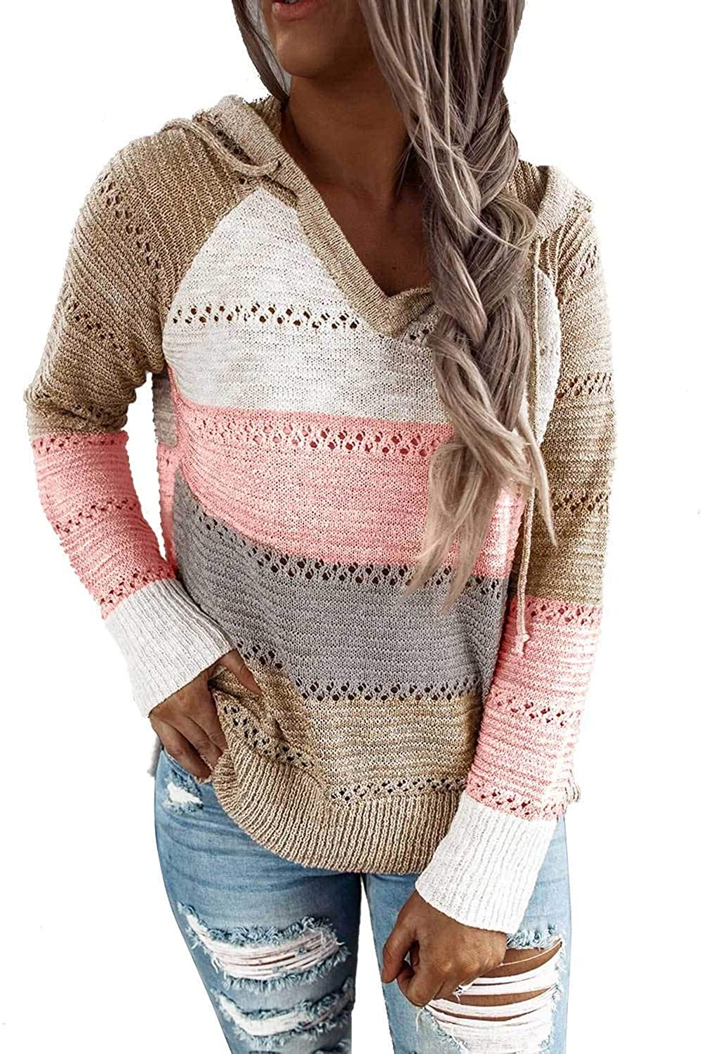 Lovezesent Womens Color Block Long Sleeve Ribbed Knit Oversized Pullover Sweaters