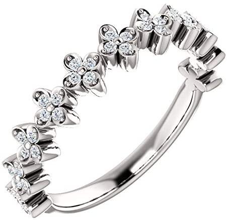 14K White Gold 1/6 CTW Diamond Stackable Clover Ring Stackable Clover Ring
