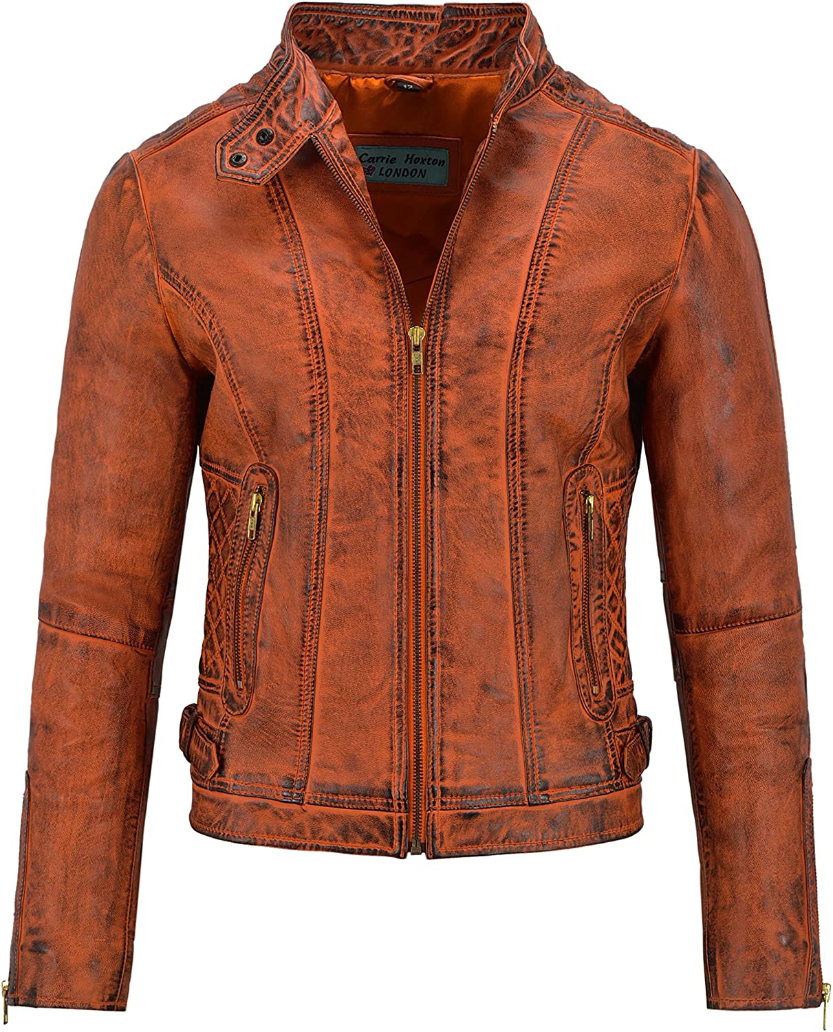 Ladies Leather Jacket Dirty Orange Wax Stylish Quilted Shoulder Biker Style 3061
