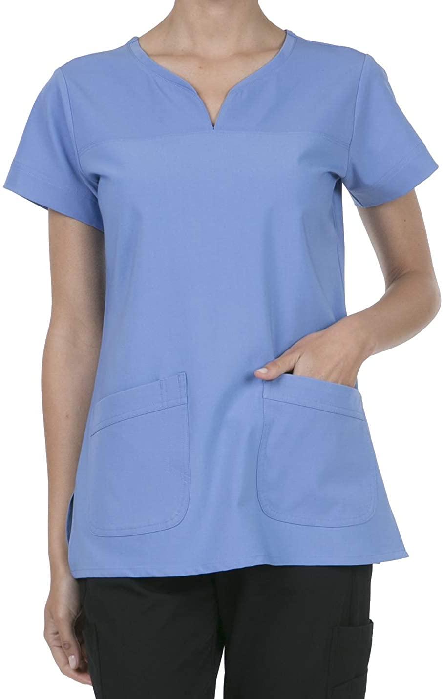 8045 Women's Uniform Scrubs Medical 2 Pocket Scrub Top LT.Denim S