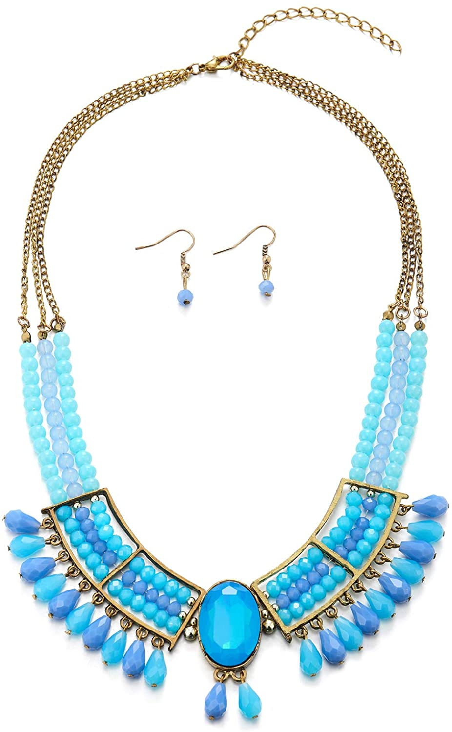 COOLSTEELANDBEYOND Vintage Bronze Necklace Three-Layer Aqua Blue Gem Stone Bead Chains Tassel Large Collar Earrings Set
