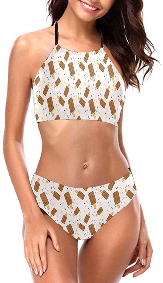 Lianmei Bikini Swimsuit for Women Seamless Cute Ice Cream Bikini Two Piece