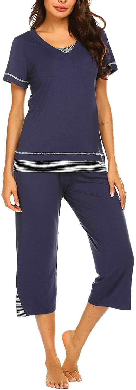 Ekouaer Women's Pajamas Set Soft V Neck Striped Sleepwear Top and Capri Pj Lounge Sets