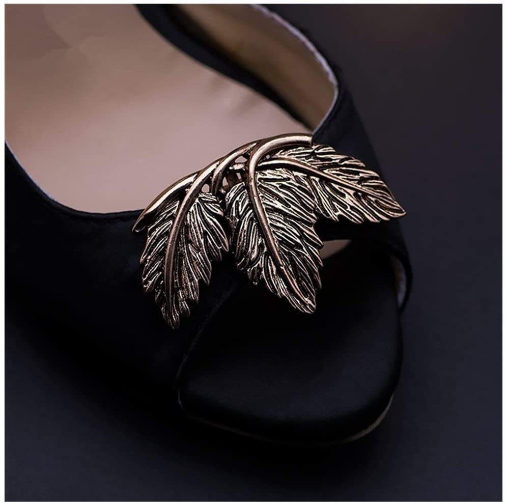 Douqu 2 Pcs Shoes Dress Hat Accessories Fashion Vintage Shoe Clips Elegant Leaves Removable Shoe Charms (Ancient Gold)
