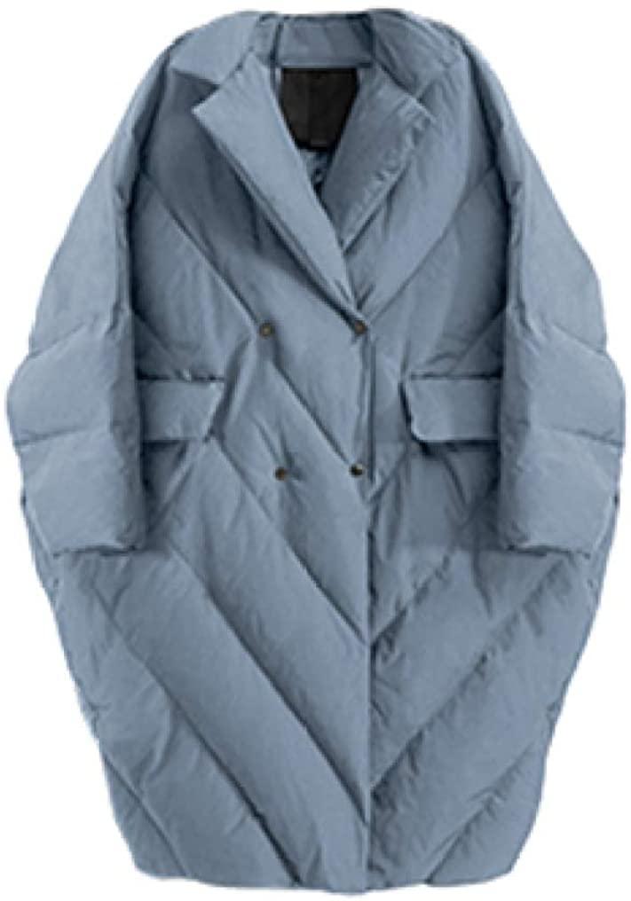 Winter Women Plus Size Long White Duck Down Jacket Cocoon Bat Type Suit Collar Thicken Parkas Big Pocket