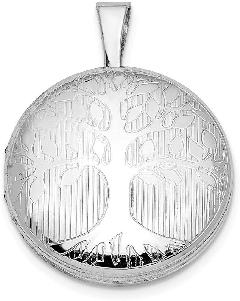 Solid 925 Sterling Silver Round Tree Design Locket Pendant