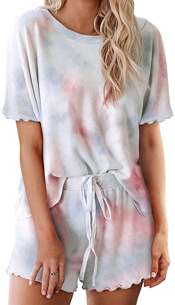 Umeko Womens Tie Dye Pajamas Set Short Sleeve Tops and Shorts 2 Piece Sleepwear Nightwear