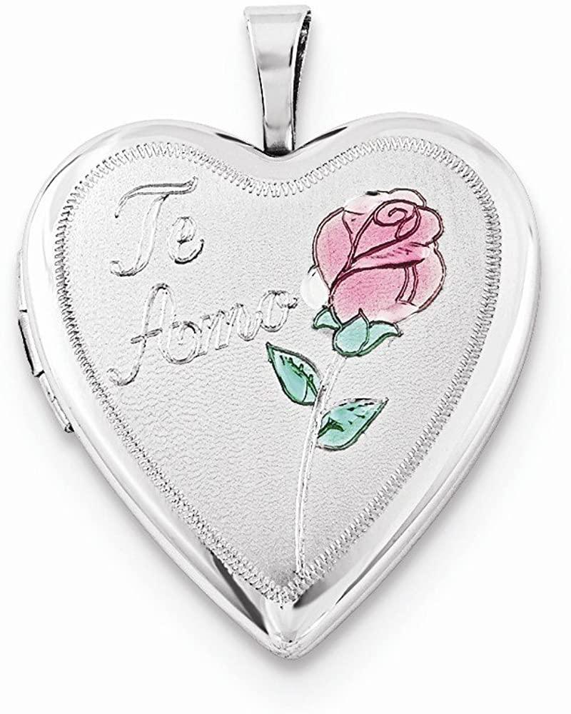 Sterling Silver 20mm Enameled Rose Te Amo Heart Locket