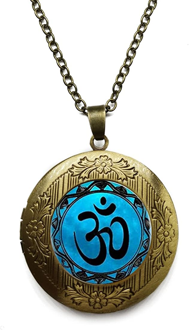 Vintage Bronze Tone Locket Picture Pendant Necklace Multicolor Flower of Life Yoga Included Free Brass Chain Gifts Personalized