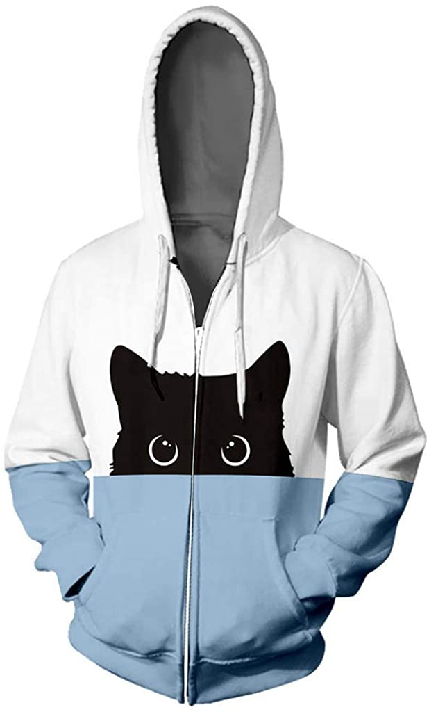TWGONE Zip Up Hoodie Women Cat Lover Graphic Hip Hop Zipper Color Stamped Long Sleeve Blouse Hooded Coat