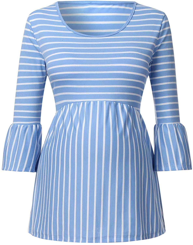 Soluo Women's Half Sleeve Crew Neck Loose Maternity Nursing Tops Striped Breastfeeding T-Shirt Casual Tunic