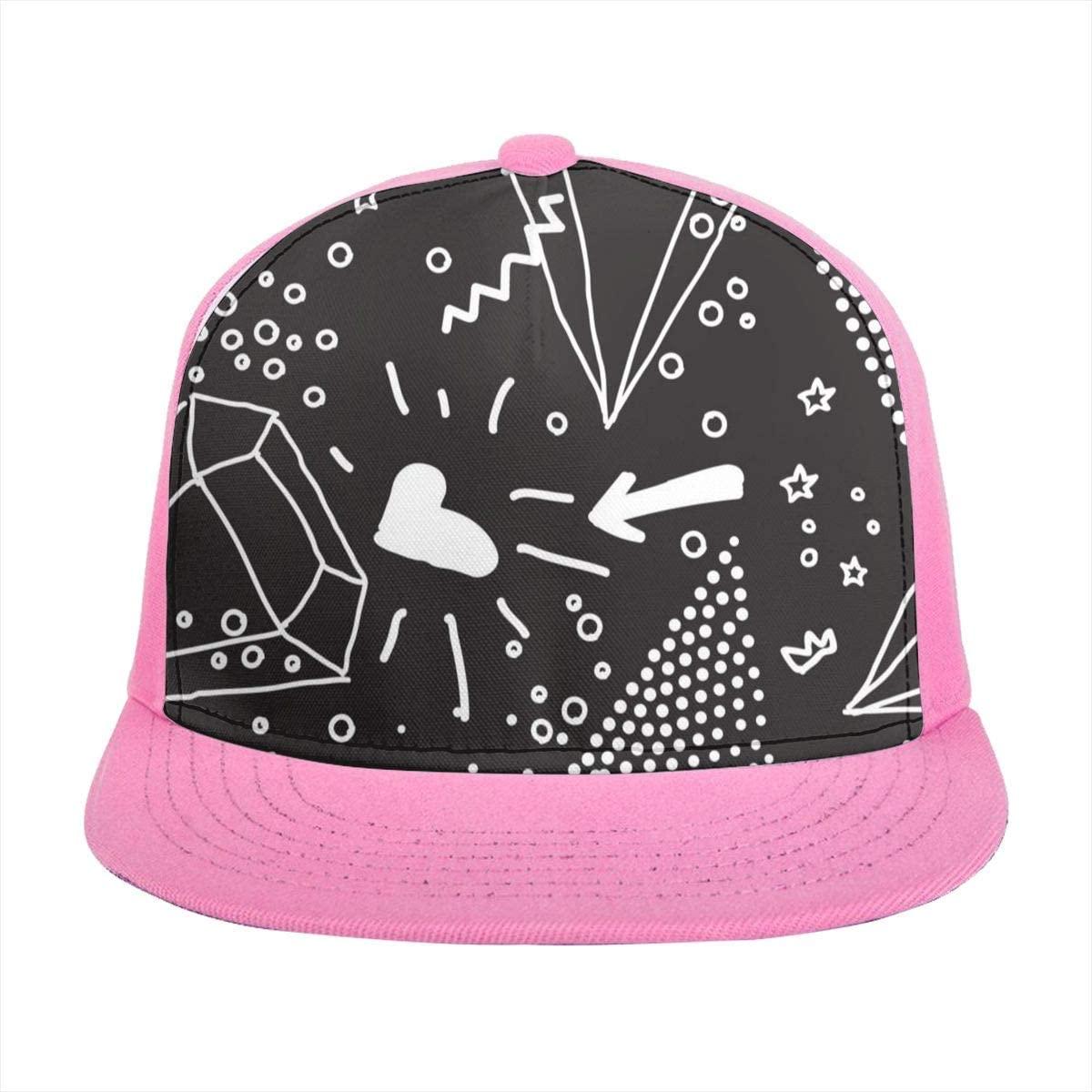 SLHFPX Sun Visor Hat Simple Seamless Doodle Pattern in Kitsch, Baseball Cap Flat Brim Hat for Women Men Summer