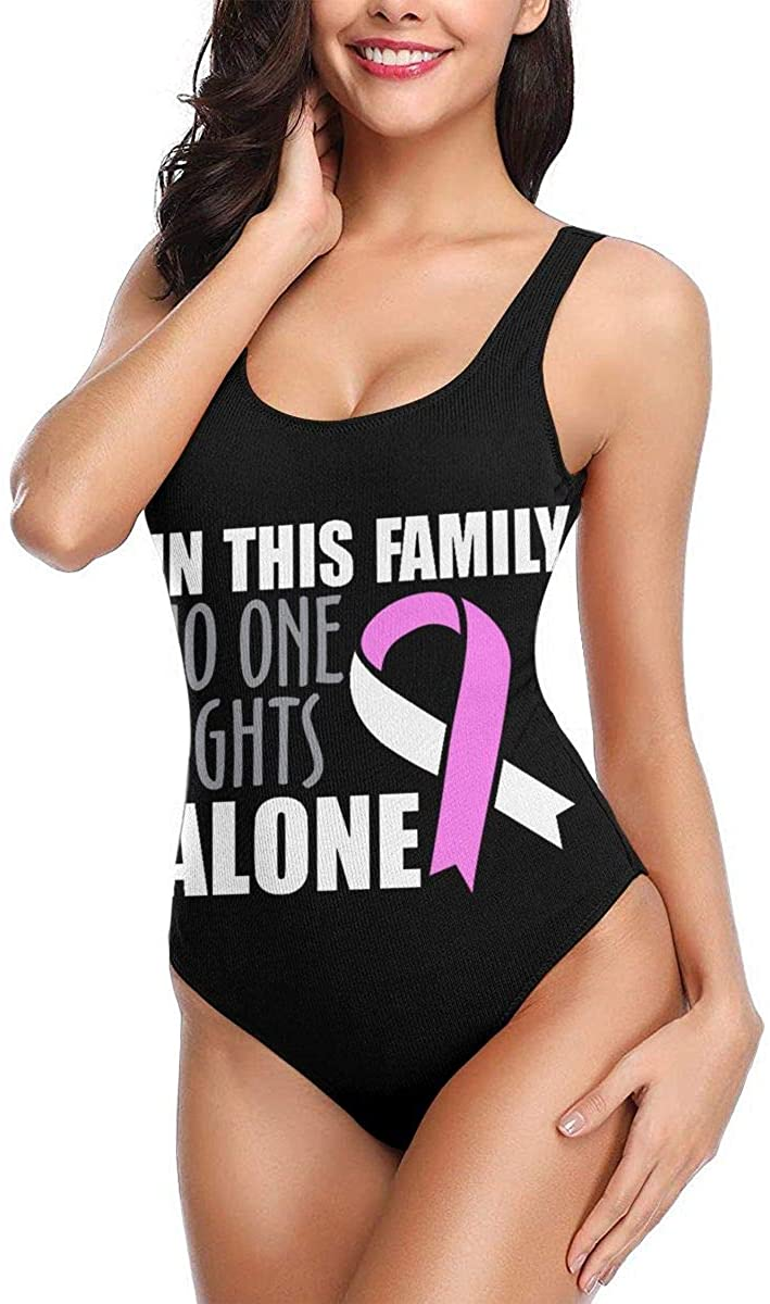 in This Family No One Fights Alone One Piece Swimsuits Quick Dry Backless Swimwear for Women