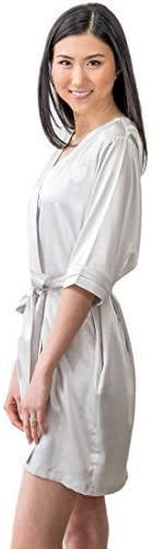 WEDDINGSTAR Womens Satin Robe with Pockets - Silver Small/Medium