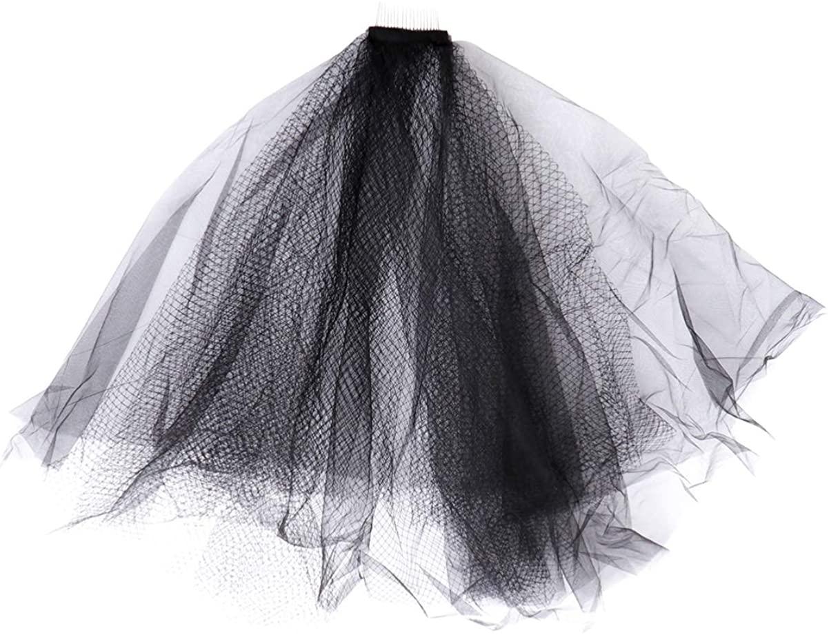 PRETYZOOM Black Bridal Veil Bridal Cathedral Veil Wedding Veil Halloween Hair Decorative for Brides Lady