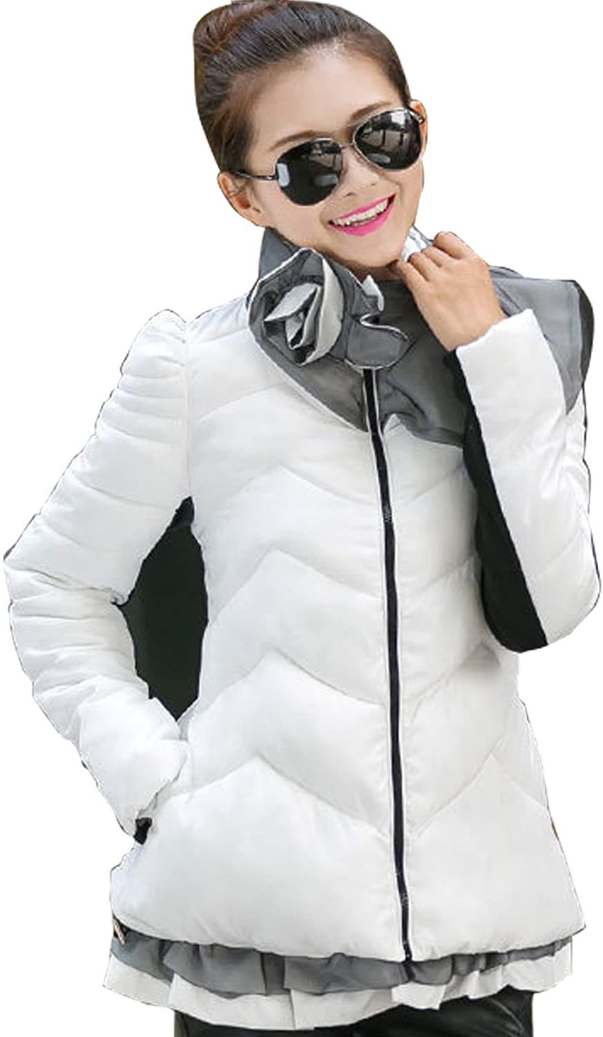 Gaorui Women Fashion Long Down Coat Cotton Quilted Flower Collar Slim Jacket Outwear