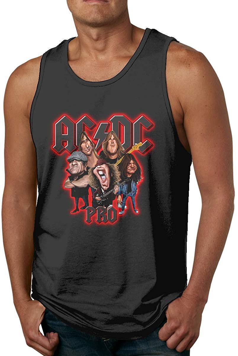 ACDC Black in Black Mens Tank Tops Sleeveless Summer Vest Shirts Black
