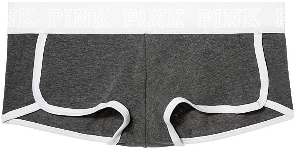 Victoria's Secret Pink White Logo Boyshort Grey