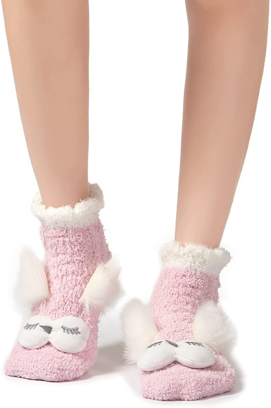 Leotruny Women's Winter Cute Animal Ankle Slipper Fuzzy Socks