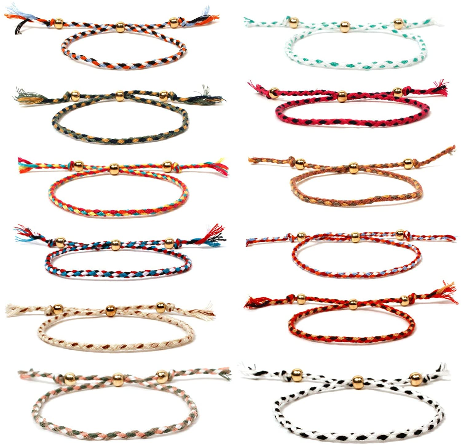 Boho Friendship Handmade Rope Multiple Woven Cotton Thread Wrap Bracelet Set Colorful Wrist Cord Adjustable Handmade String Wish Skinny Braided Charm Bracelets for Women Jewelry