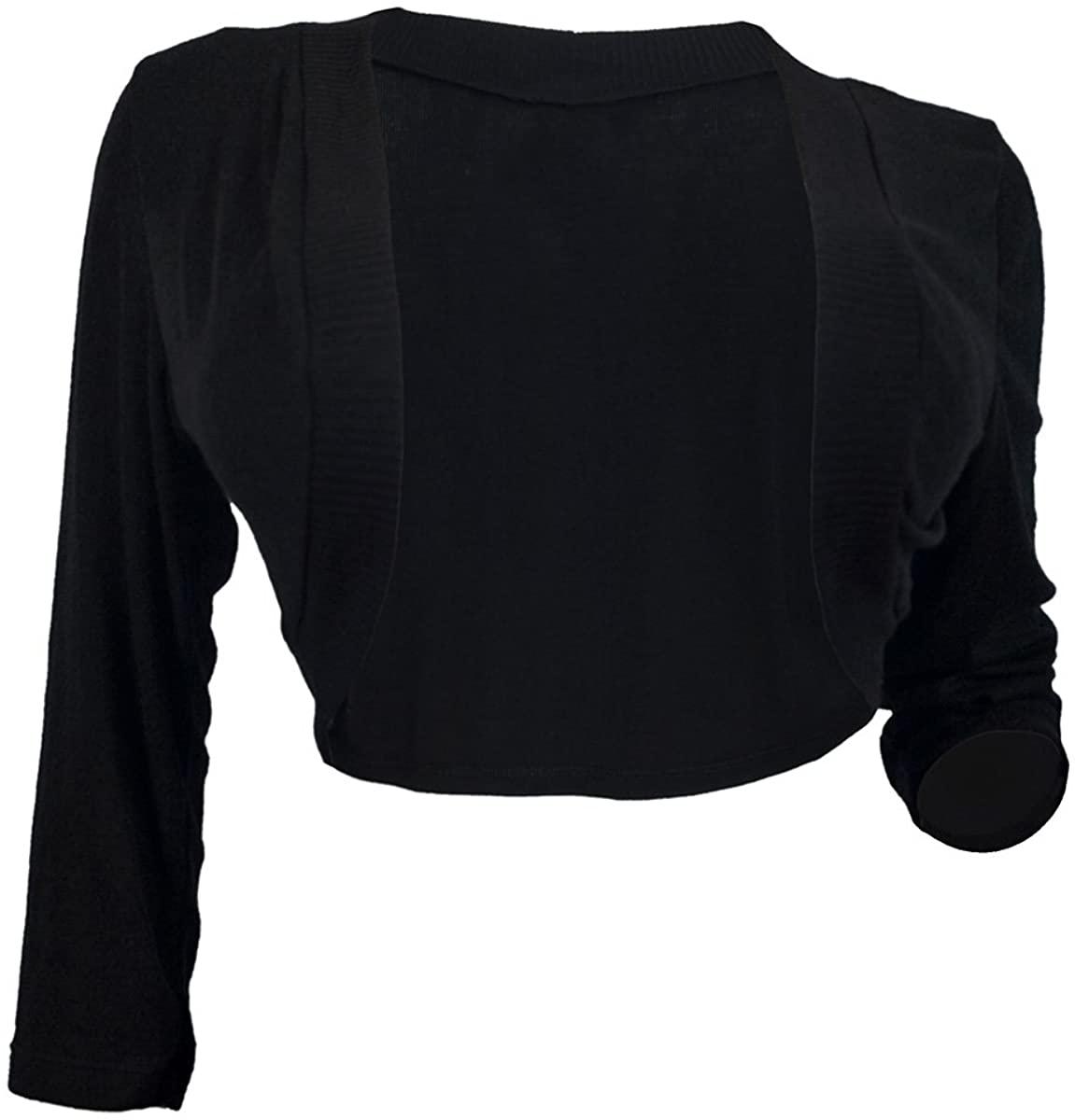 eVogues Women's Black 3/4 Sleeve Cropped Bolero Shrug