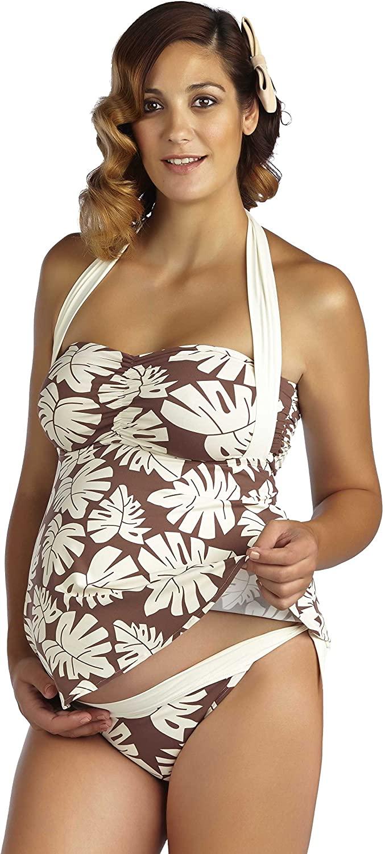PEZ D'OR Maternity La Mer Palm Leaf Printed Tankini Set