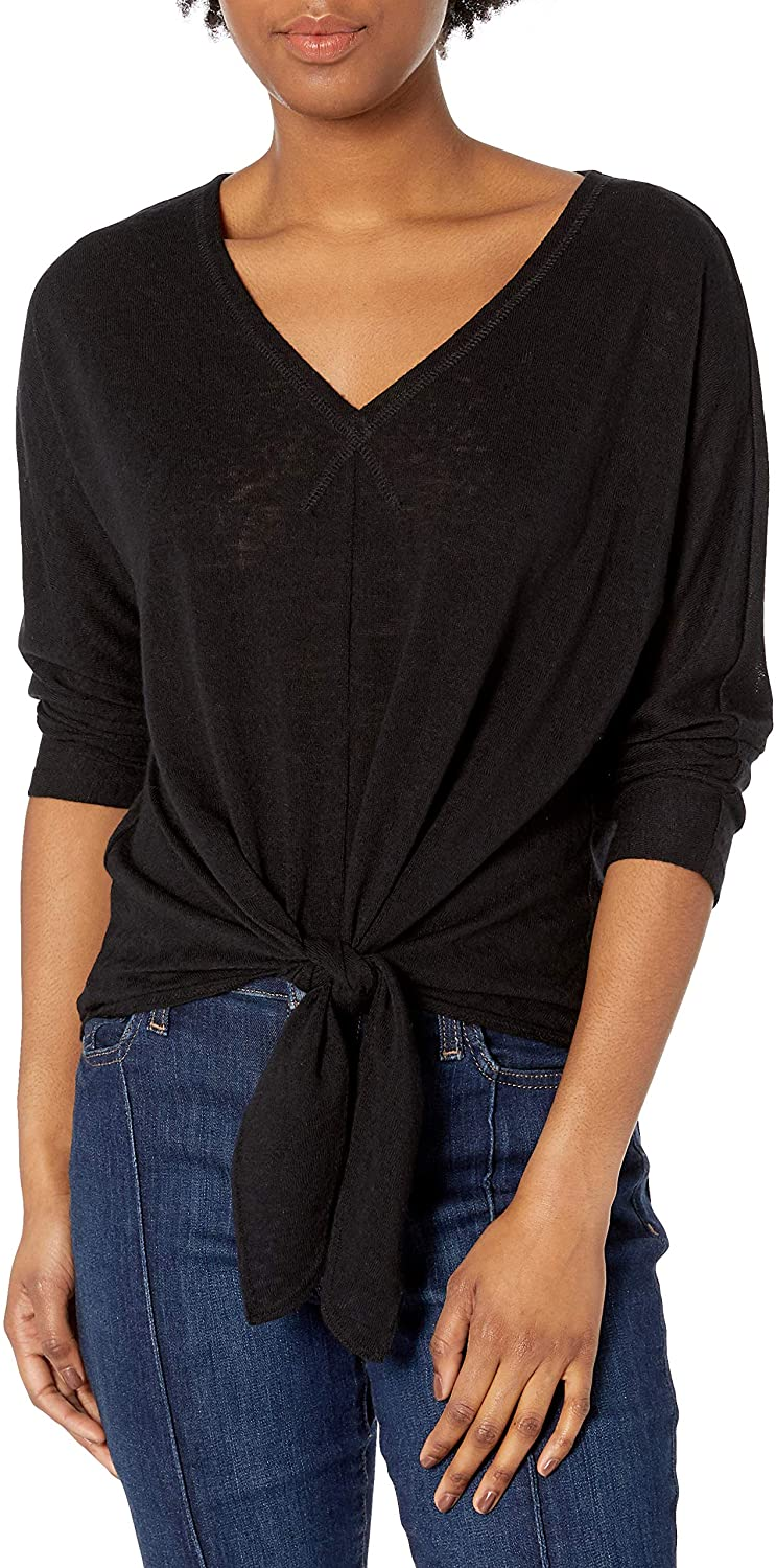 Cable Stitch Womens V-Neck Tie Front Dolman Top