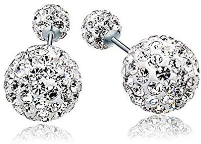 S925 Pure Silver Full Diamond Ear Nails Women'S Double Ball Earrings Water Diamond Jewelry