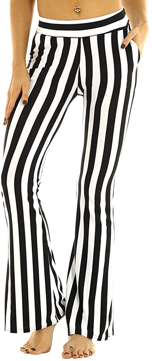 CHICTRY Womens Black White Striped Pants High Waist Wide Leg Pants Casual Trousers