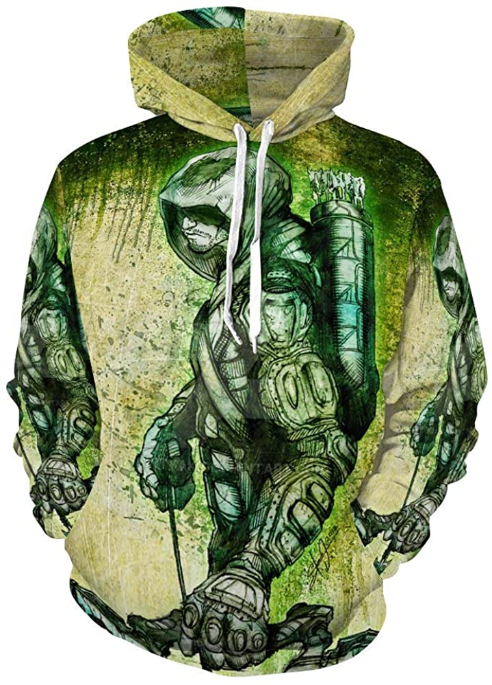 Green ARR-ow 3D Print Unisex Comfortable Running Funny Hip Hop Pullover Splice Hoodie Sweater