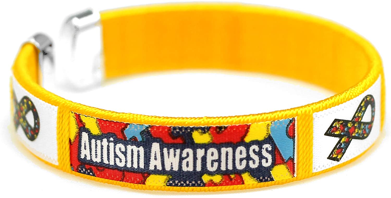 Colorful Autism Awareness Puzzle Ribbon Bangle Bracelets – Inexpensive Autism Ribbon Wristbands for Fundraising & Awareness
