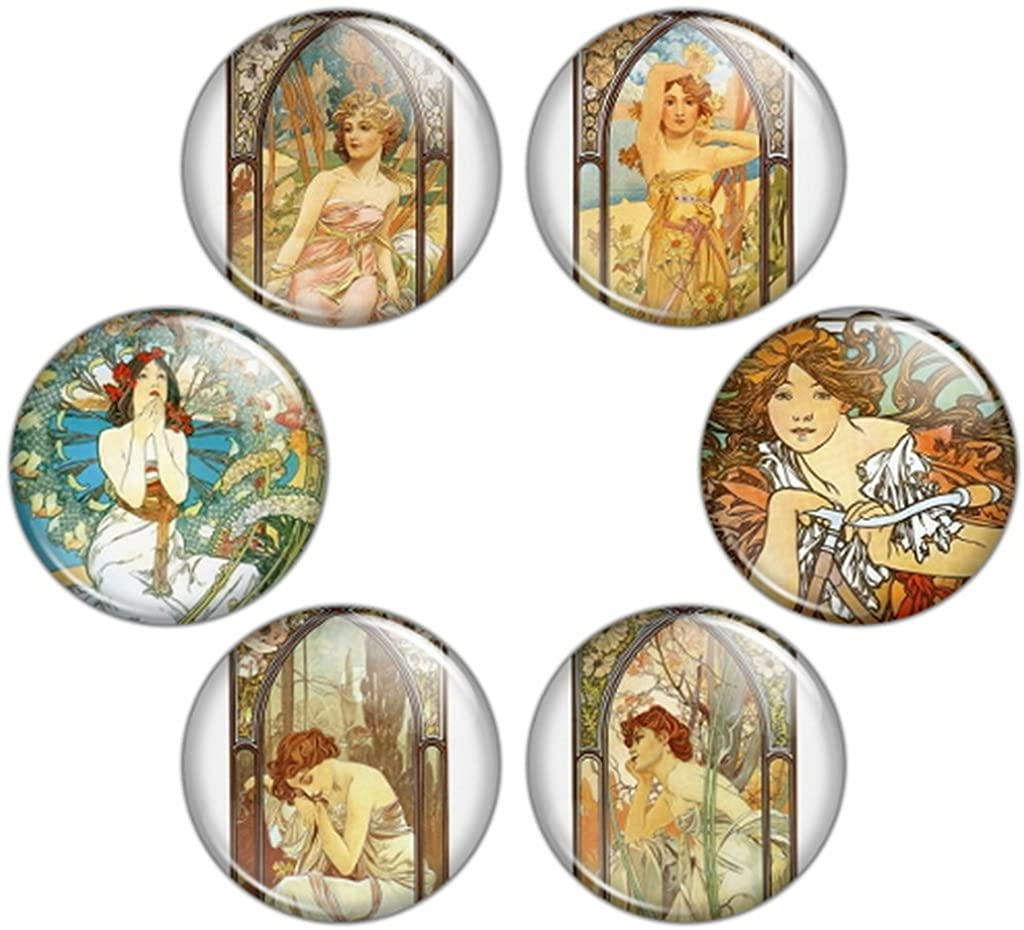 Button Bistro Women's Mucha Art Nouveau Artwork 1.25 inch Pinback Button Set #5